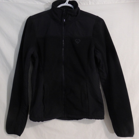 Live Love Dream black fleece jacket, small